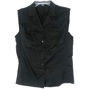 Prada Black Sleeveless Blouse Shirt Button Down
